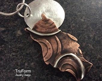 TRIBAL OWL - Owl Pendant, Totem Animal Mixed Metal Pendant, Hand Crafted Jewelry, Animal Spirit Unisex Jewelry, Spirit Owl Copper