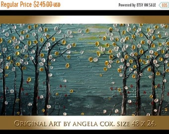 SALE Original Modern  Landscape  Gray  Forst  Abstract Acrylic Impasto Palette Knife  Painting. Size 48 x 24