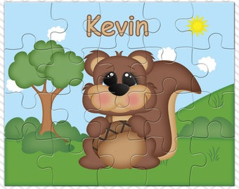 Squirrel Personalized Puzzle, Personalized Squirrel Puzzle, Personalized Kids Puzzle
