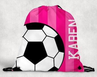 Personalized Drawstring Backpack - Soccer Backpack - Soccer Sports Bag - Personalized Kids Drawstring Bag