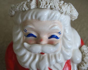 Vintage Ceramic Santa Bank with Gold Accents and Spaghetti Trim