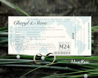 Boarding Pass Destination Wedding Personalised Invitation