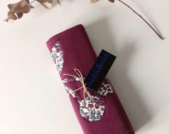 Torchon en coton prune et tissu Liberty Meadow