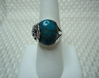 Oval Cabochon Cut Green Chinese Turquoise Floral Ring in Sterling Silver   #2047