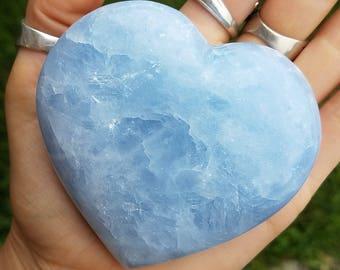 Large Blue Calcite Heart - sensitivity throat chakra healing communication - energy gemstone goddess polished calcite rock