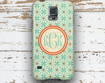 Personalized Samsung S5 case, Pretty S6 case, Turquoise coral flowers  (9923)