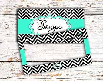 Custom front license plate or frame, Monogrammed car tag, Cute auto accessories, Turquoise car decor with name, Black white chevron  (1646)