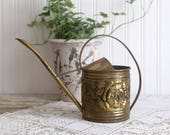 Vintage Brass Watering Can, Small Watering Can, Rustic Garden, Farmhouse Garden, Rustic Watering Can