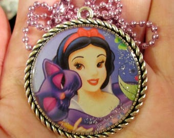 Princess Necklace-Snow White Jewelry-Handmade Resin Pendant Jewelry