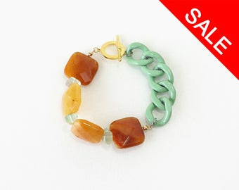 Fresh Bold Statement Bracelet, Burnt Yellow Quartz Stone with Sea Green Big Chain - ON SALE (WAS 36)