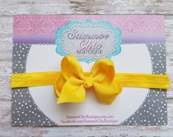Yellow Headband, Baby Headband, Bow Headband, Baby Headbands, Infant Headband, Newborn Headbands, Yellow Bow, Fall Baby Headband