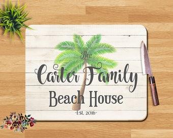 Personalized Glass Cutting Board   Palm Tree   Monogrammed Cutting Board    Wedding Gift   Kitchen