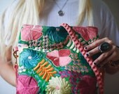 Braid Wrap bag in Coral with embroidered textiles