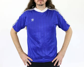 Vintage Ribbed Classic Adidas Football / Soccer Jersey Blue V-neck w/Trifoil Logo