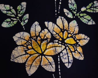 Vintage Japanese cotton yukata fabric. Roketsuzome Peony Tree Vintage kimono fabric