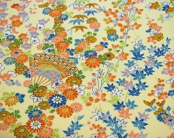 Kaga Yuzen Floral Vintage Japanese Tango chirimen silk kimono fabric