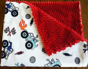 Truck Rally Minky Baby Blanket