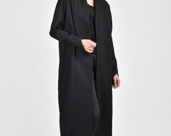 NEW Winter Lined Black Coat / Side Pockets / Bodycon Wool  Coat / Extravagant Asymmetric Sleeves /HandMade by Aakasha A90135