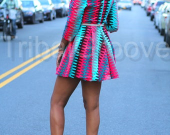 ZARIAH - African Ankara Wax Print Dress - Mini - Midi Dress