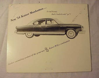 1954 Kaiser Frazer Automobile Dealer Brochure Card By Kaiser Frazer Corp. Willow Run, Mich. ,Illustrated Automobile Dealership fold out card