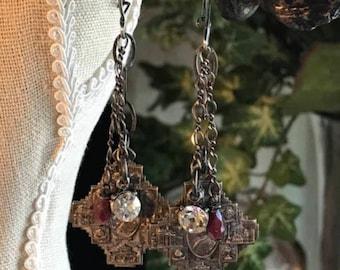 Antique assemblage earrings religious medal vintage rhinestones rubies OOAK