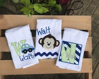 Monkey themed baby gift, monkey, transportation, personalized burp cloths, baby boy, baby gift, burp cloths