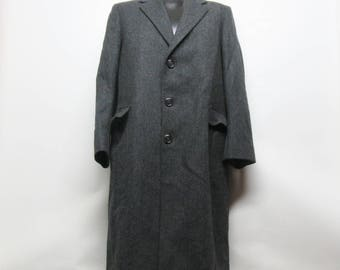 Wool full length winter coat, wool coat size 42, Made in USA Wool Coat