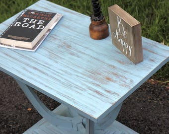 Rustic Shabby Chic Blue Side Table