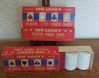 Vintage Poker Chips Unused 3 Boxes