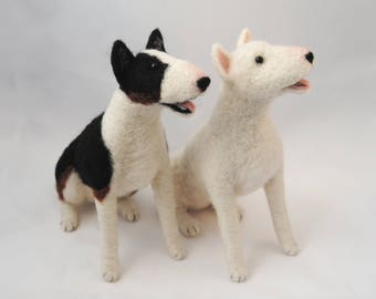 Needle Felted Bull Terrier, Custom Made Dog Sculpture, Needle Felted Pet Portrait, Needle Felted Dog - made to order