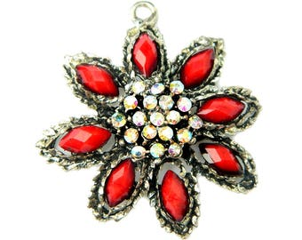 Red Glass Star Flower Pendant For Necklace Vintage Aurora Borealis Red Jewelry Vibrant Red Faceted Glass Star Flower Gift Idea For Women