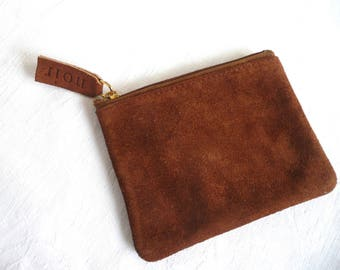 Leather coin purse - vintage suede coin purse - tan suede purse - vintage Noir leather purse