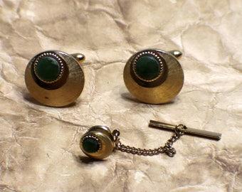 Vintage Swank Jade Cufflinks/Tie Tack - Jade - Swank Set - Mens Jewelry - Wedding - Groom or Groomsmen