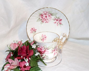 Vintage Queen's Fine Bone China Teacup & Saucer by Rosina China Co LTD - Made in England - Pink Lilies - English Tea Cup