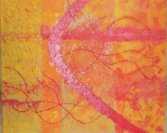 Yellow and Red abstract painting 'Move in silence fire'