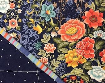 Navy Flower Garden Whole Cloth Baby Quilt