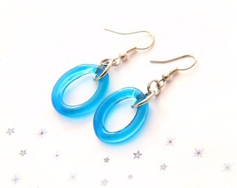 ring murano glass turquoise blue Lampwork earrings