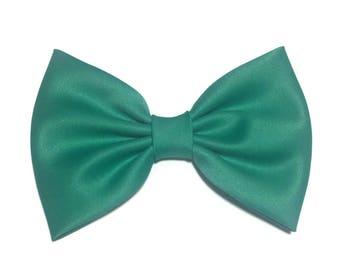 Jade Hair Bow, Green Satin Hair Bow Clip, Bows For Women, Kawaii Bows, Handmade Bow, Satin Fabric Bow, Lolita, Big Bow, Baby Girl Bow, 0ST32