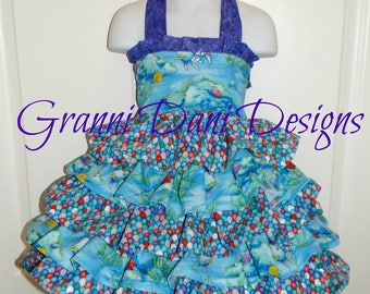 rainbow fish book dress tiered ruffle baby toddler girl 6 12 18 24 months 2t 3t 4t 5t 6 7 8