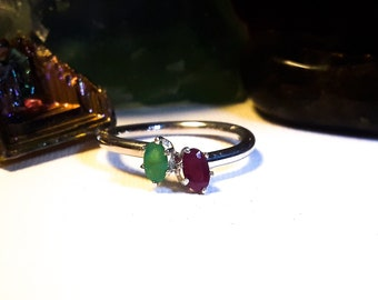 Ruby and emerald sterling silver ring, size 6