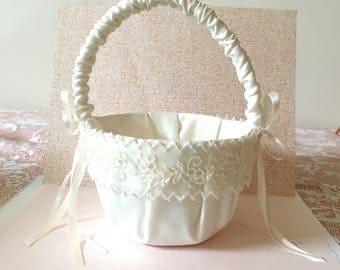 Flower Girl Basket, Ivory Flower Girl Basket,Wedding basket