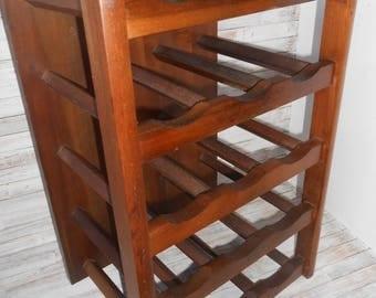 15 Bottle Wine Rack - Wood Wine Rack-Rustic Wine Rack- Counter or Wall Mount Wine Rack- Vintage Wood WIne Rack