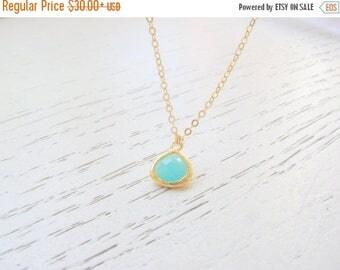 SALE - Aqua chalcedony necklace - Mint necklace - Mint green necklace, Green tear drop necklace - Bridesmaid necklace, Drop necklace