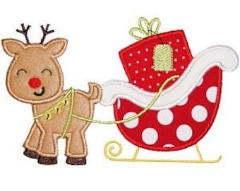 Reindeer & Santa's Sleigh applique - Christmas Custom Tee Shirt - Customizable