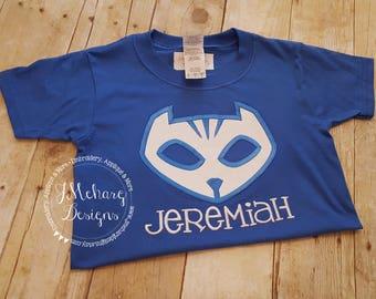 CatBoy P J Masks Inspired Birthday Custom Tee Shirt - Customizable - 60c mask only