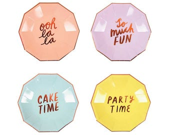 Rose Gold So Much Fun Pastel Plates - metallic copper paper plates birthday
