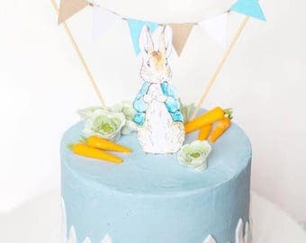 Peter Rabbit Cake Topper and Bunting Cake Topper