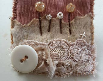 fabric brooch wearable art in soft browns made using vintage materials and hand dyed fabrics handstitched with love, textile brooch