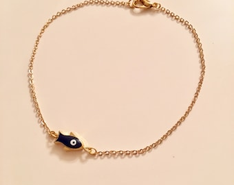 Gold Plated Evil Eye Fish Charm Bracelet Gold Plated Anklet Evil Eye Anklet Charm Blue Fish Evil Eye Dainty Gold Jewelry Gift for Her Kids