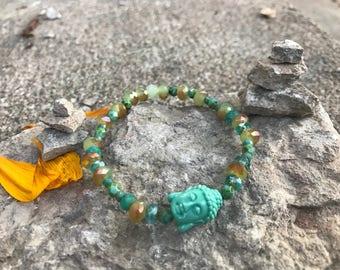 Shimmering Green Buddha Bracelet, yoga, meditation, modest bracelet